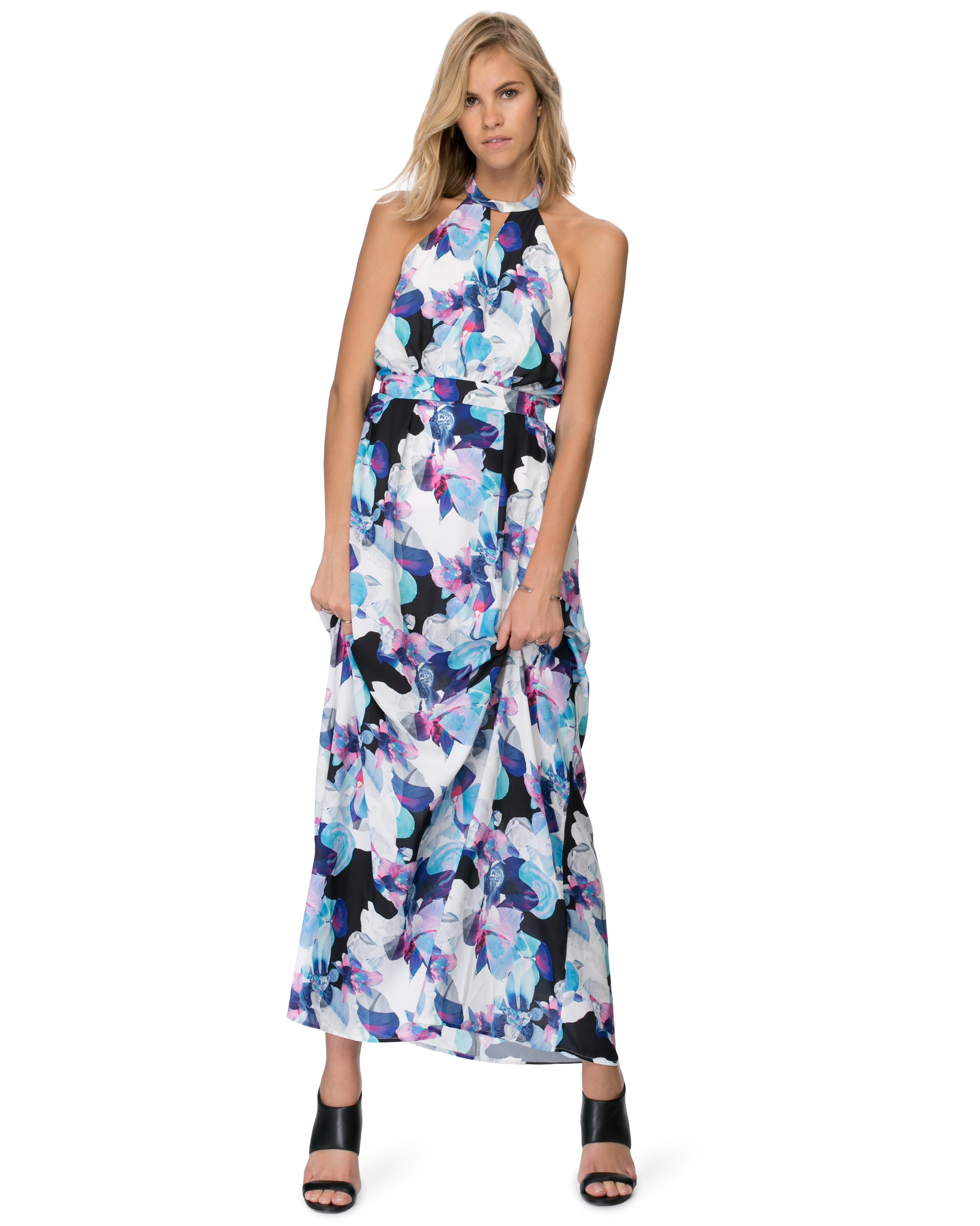 MIAMINX Black Colored Printed Maxi Dress Online Shopping Store