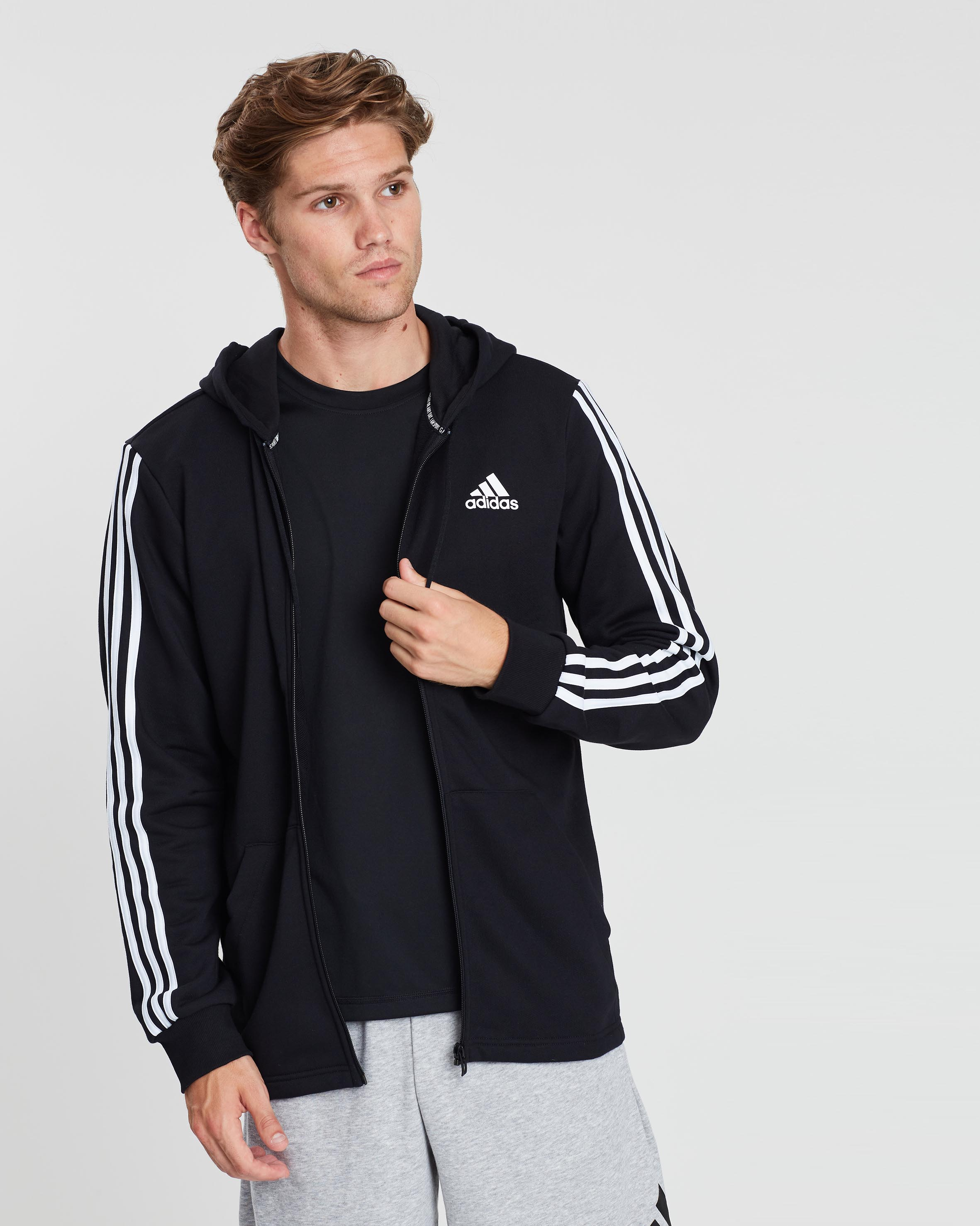 adidas Black Must Have 3 Stripe Zip Through Hoody