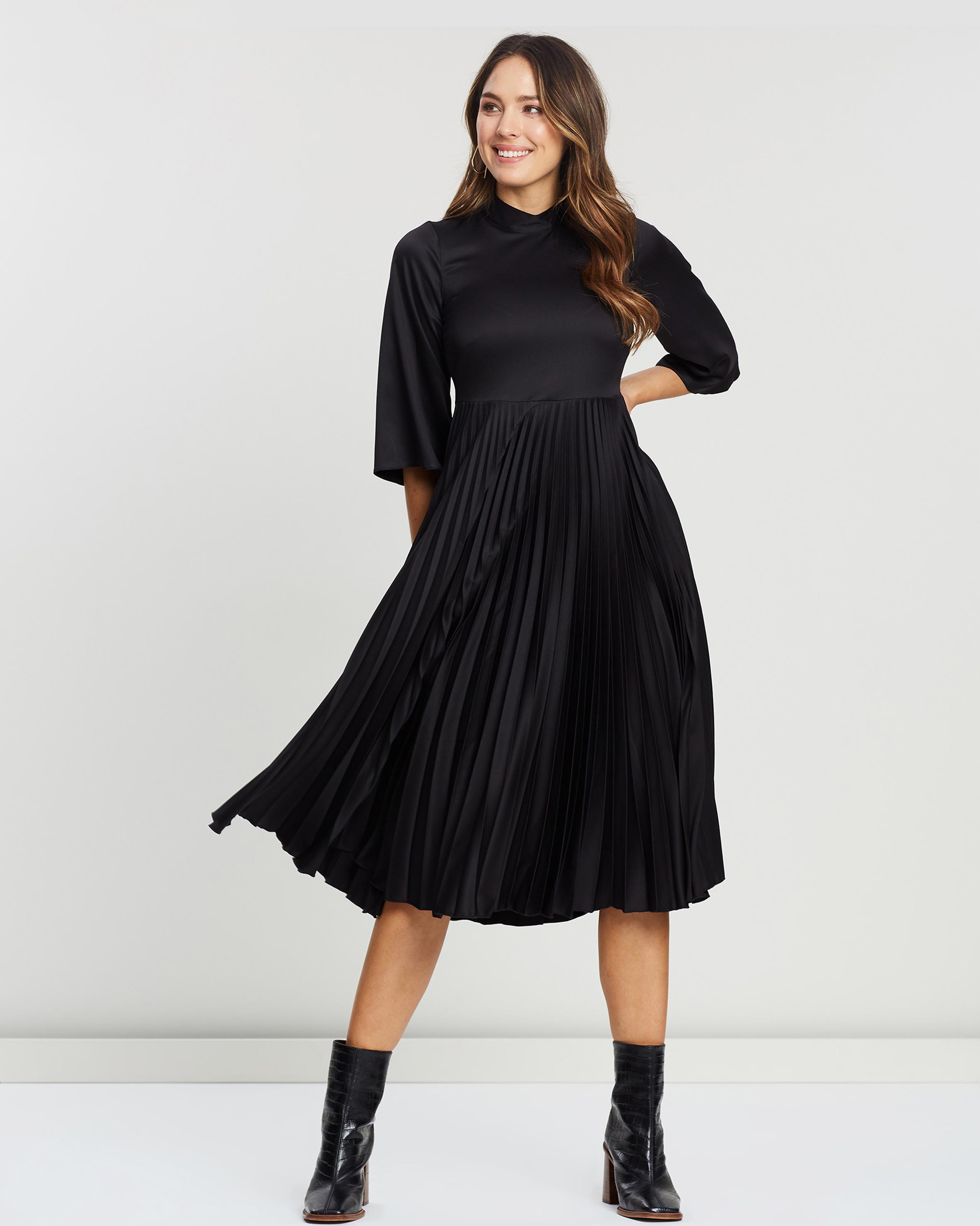 Collared Pleated Dress by Closet London Online | THE ICONIC